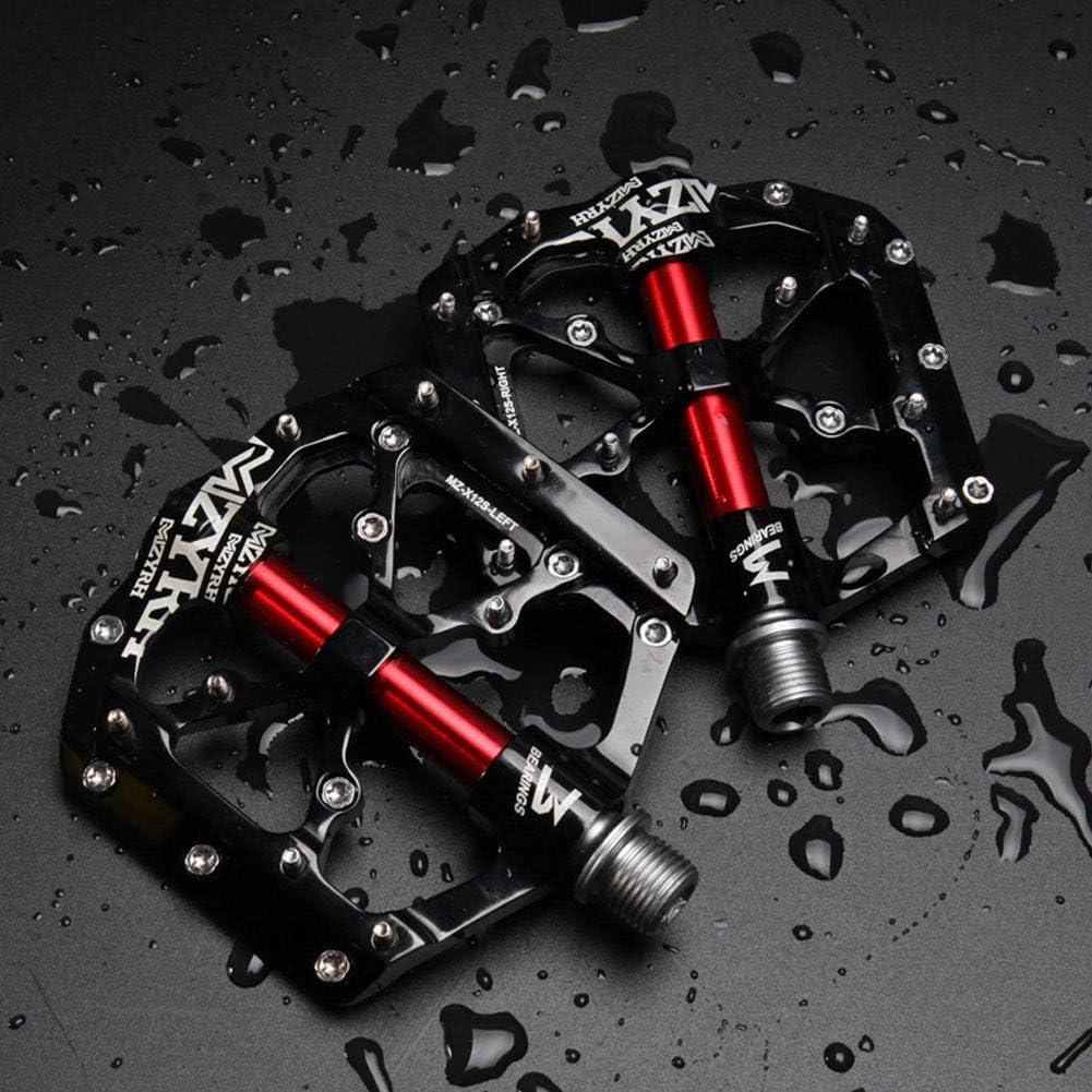 2 Piezas De Bicicletas Pedales Rodamientos Sellados De Aleaci/ón De Aluminio Pedales De La Bicicleta con El Extra/íble Antideslizante Clavos por Un Camino De MTB Bike Negro