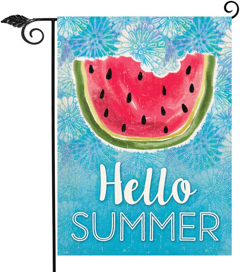 Hzppyz Hello Summer Watermelon Garden Flag, Home Decorative House Yard Lawn Outdoor Small Welcome Flag Double Sided Watercolor Sign, Seasonal Outside Decorations Burlap Home Decor Flag 12 x 18