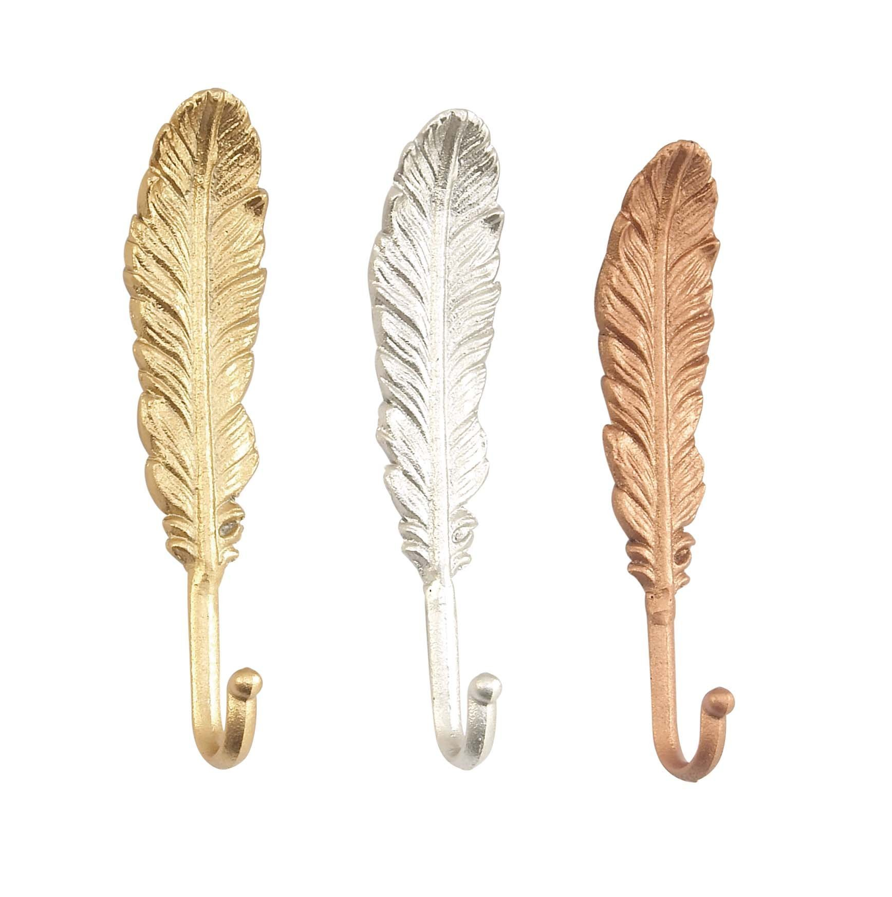 Deco 79 59419 Feather-Inspired Iron Wall Hooks (Set of 3), Gold/Silver/Bronze