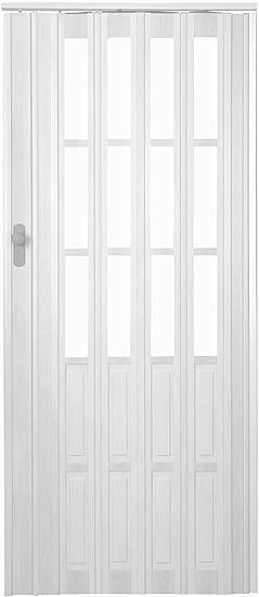 Puerta plegable corredera Blanco Colores con candado – Llave y altura 203 cm ancho de montaje de ventana de hasta 116 cm Doble pared Perfil nuevo: Amazon.es: Bricolaje y herramientas