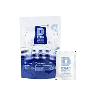 Dry & Dry 20 Gram [10 Packets] Premium Pure & Safe Silica Gel Packets Desiccant Dehumidifier - Rechargeable Fabric Silica Packets for Moisture