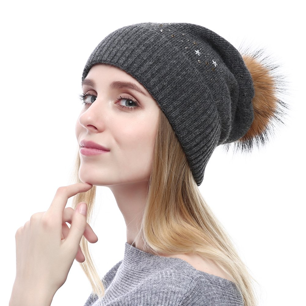 Winter Stretchy Beanie With Natural Fur Pom-pom Oversized Wool Hat Sequin stars Caps YoungQueen