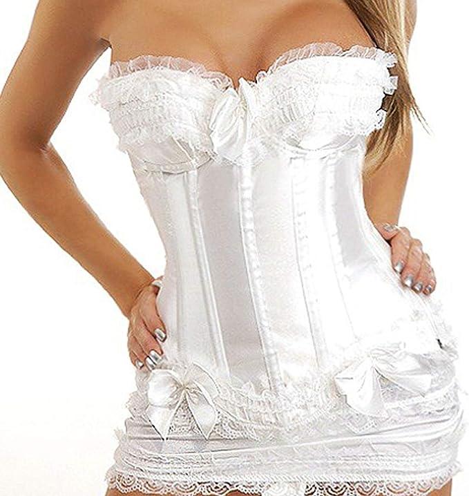 Novia De La Mujer Moulin Blanco Rouge Bustier Lace Up Ropa Festiva ...