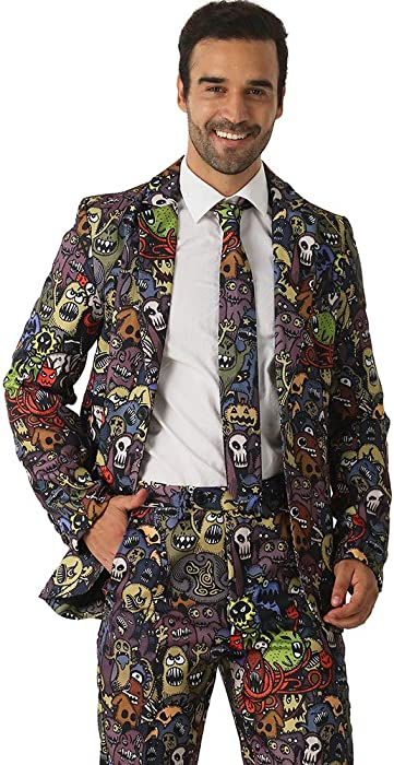 EraSpooky Comic Monstruo Colorido Traje Historieta para Hombres Viene con  Pantalones de Chaqueta y Corbata deb96393560b