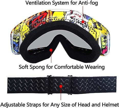 anti-poussi/ère v/élo cadre OTG pliable ski sports dhiver en plein air pour adultes v/élo tout-terrain Jiele Lunettes de motocross pour moto protection UV 400 coupe-vent
