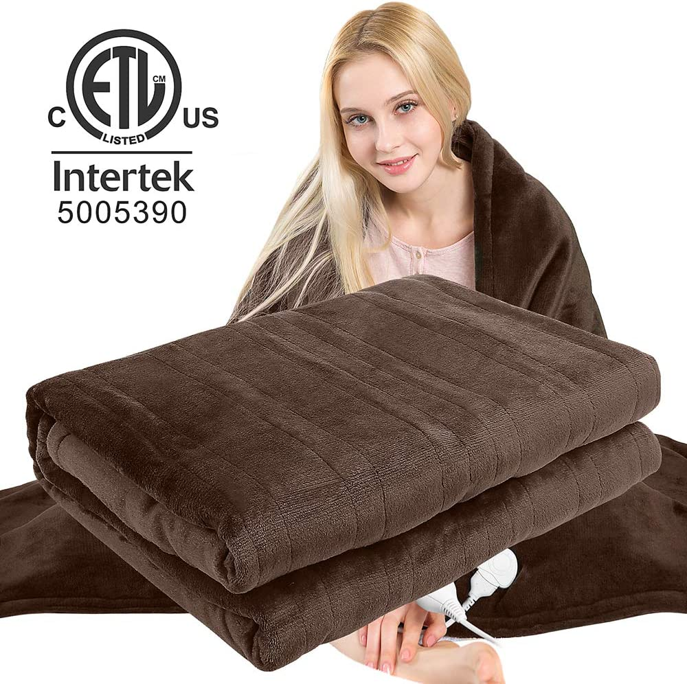 Homde Heated Electric Throw 50 Inch x 60 Inch Reversible Flannel/Sherpa Washable Blanket with 3-Heat Setting Auto-Off Controller for Bed or Couch (Brown): Home & Kitchen