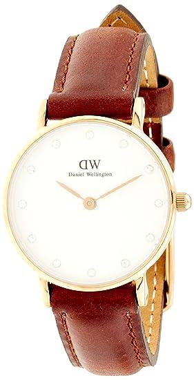 Daniel Wellington 0900DW-1006SET - Reloj de cuarzo para mujer, correa de cuero color marrón: Amazon.es: Relojes