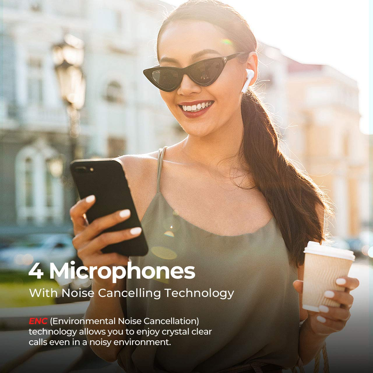 Mpow M10 Wireless Earbuds, Bluetooth Earbuds Sport w 4 Mics w ENC Noise Cancelling Tech, One Step Pairing Bluetooth 5.0 Earbuds w 26 Hrs Playtime, Sport Earbuds w in-Ear Detection,White