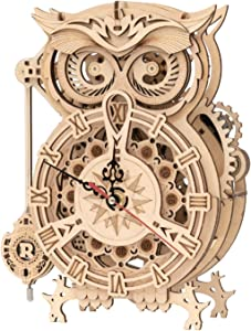 ROKR 3D Wooden Puzzle for Adults Owl Clock Model Kit Desk Clock Home Decor Unique Gift for Kids on Birthday/Christmas Day