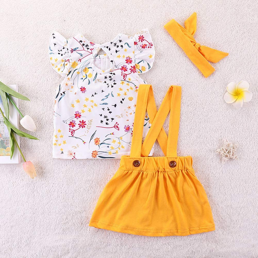 Leoie Kids Baby Girls Floral Printing Vest Suspender Skirt Hair Band Set