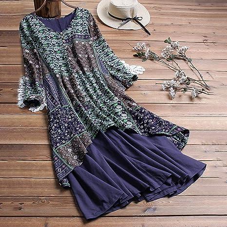 WUSIKY sukienka z lnu damska letnia sukienka duże rozmiary sukienka z kaptanu długa letnia sukienka wzÓr kwiatowy okrągły dekolt długie rękawy boho sukienka plażowa maxi elegancka sukie