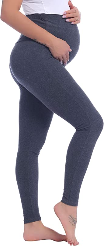 Ladies Women Maternity Leggings over Bump Full Length Cotton Pants