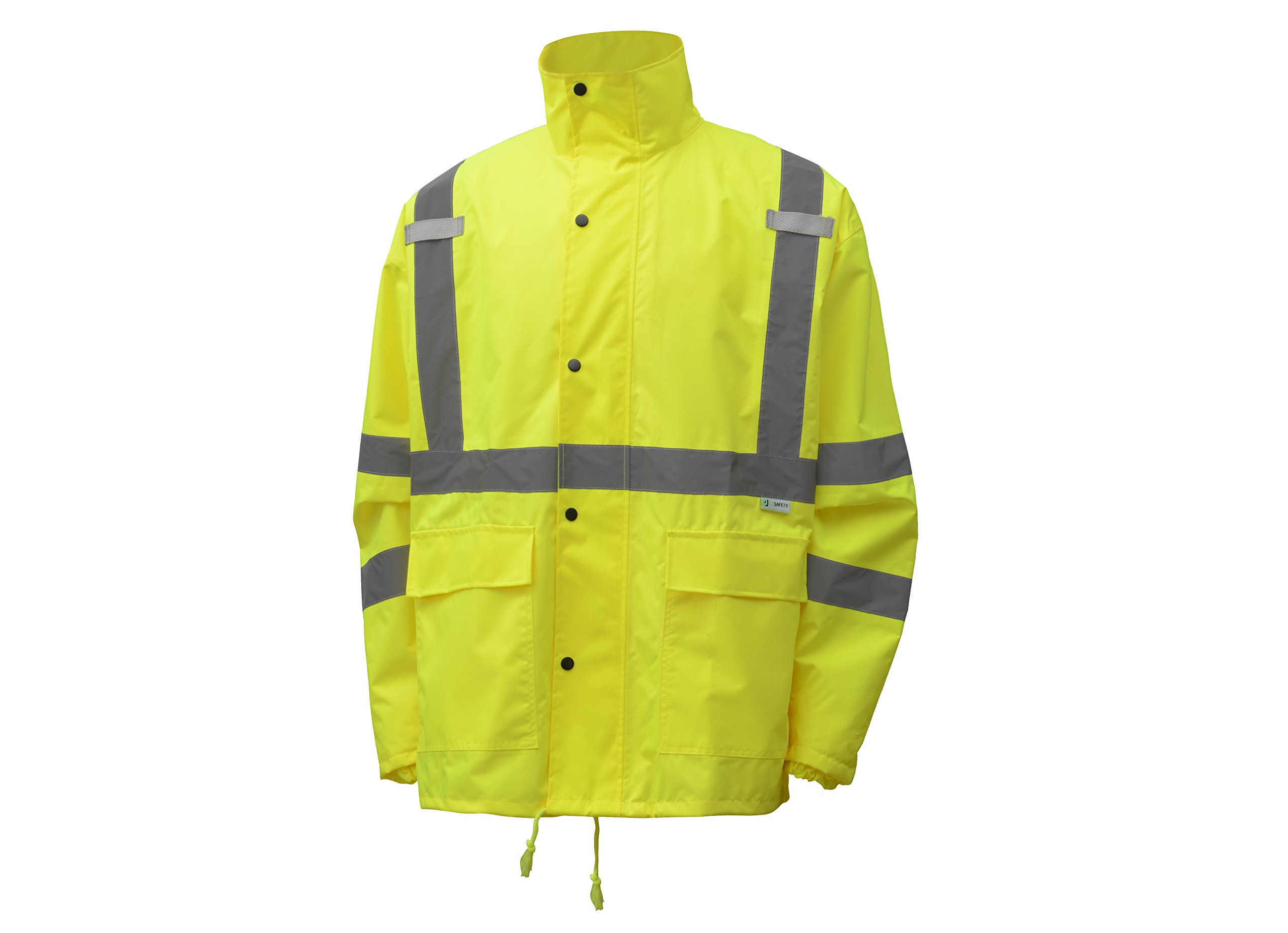 CJ Safety CJHVRJ3003 High Visibility Safety Rain Jacket - Waterproof & Light weight (Extra Large, Green)