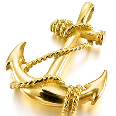 Inblue mens stainless steel pendant necklace gold tone anchor inblue mens stainless steel pendant necklace gold tone anchor nautical with 23 inch chain aloadofball