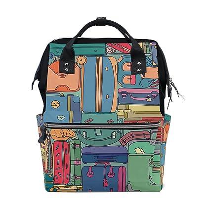 TIZORAX Colección de maletas de viaje vintage con pegatinas pañales mochila de gran capacidad bolsa de
