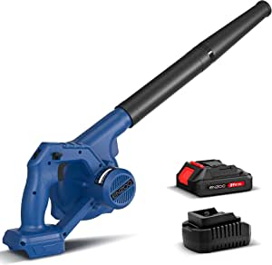 ENZOO Cordless Leaf Blower/Dust Vacuum 2-in-1 Designed for Light Yard Work and Hard Surface Sweeping Variable Speed MAX 20V Includes 2.0Ah Lithium-Ion Battery and Charger (Blue)