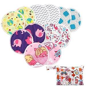 Asenappy Reusable Bamboo Nursing Pads 12 pcs+1 Bag - for Breastfeeding or Pregnant Moms Washable & Reusable Nursing Pads (Ramdom Color)