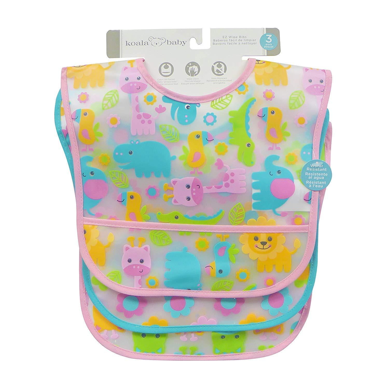 Koala Baby Girls 3 Pack EZ Wipe Jungle Bibs