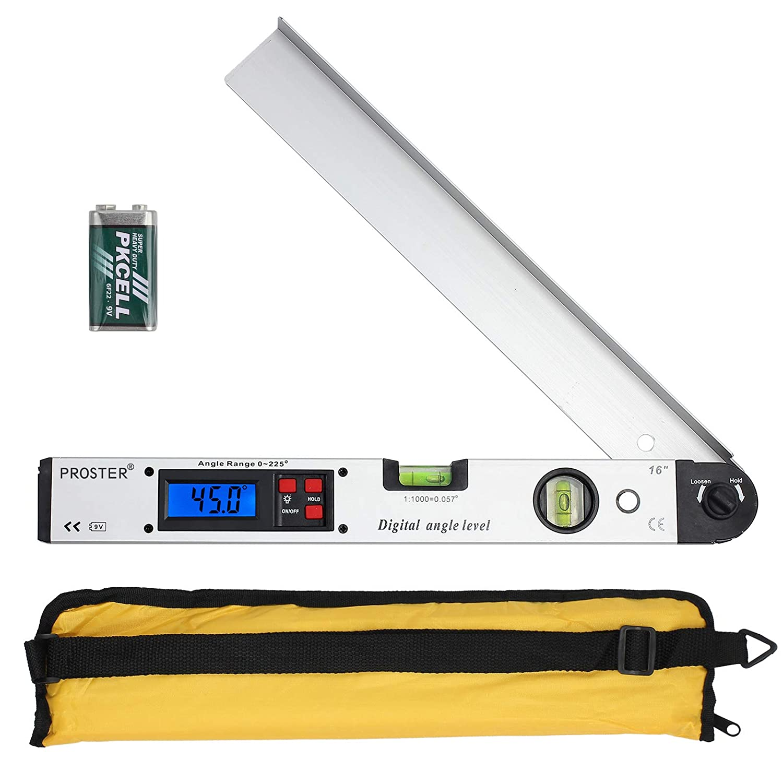 Rapporteur Numérique 0–225° Mesureur d'Angle avec Écran LCD Rapporteur Outil de Mesure 400mm/16 inch Angle Vertical Angle Double Niveau à Bulle Horizontal Calibre Inclinomètre Proster PSTTL170-UK