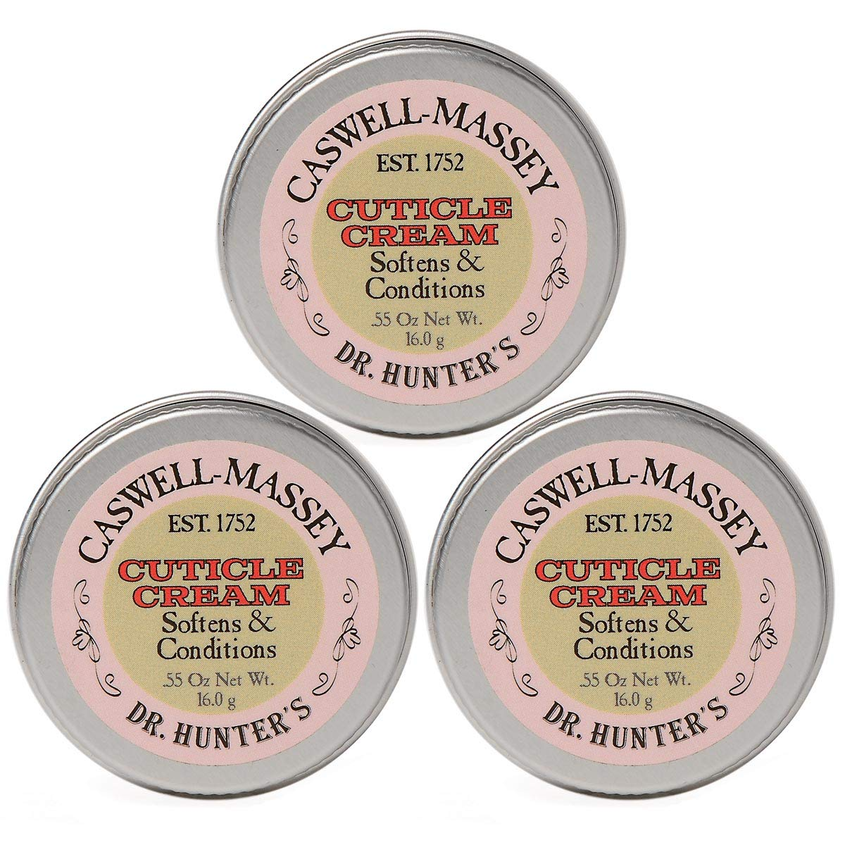 Caswell-Massey Dr. Hunter's Cuticle Cream - Natural Balm Promotes Healthy Nails, Nail Growth - 0.55 Ounces, 3 Pack by Caswell-Massey