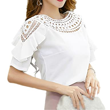 Star-Ocean Women Summer Plus Size Short Sleeve Hollow Out Ruffles Blouses OL Work Top