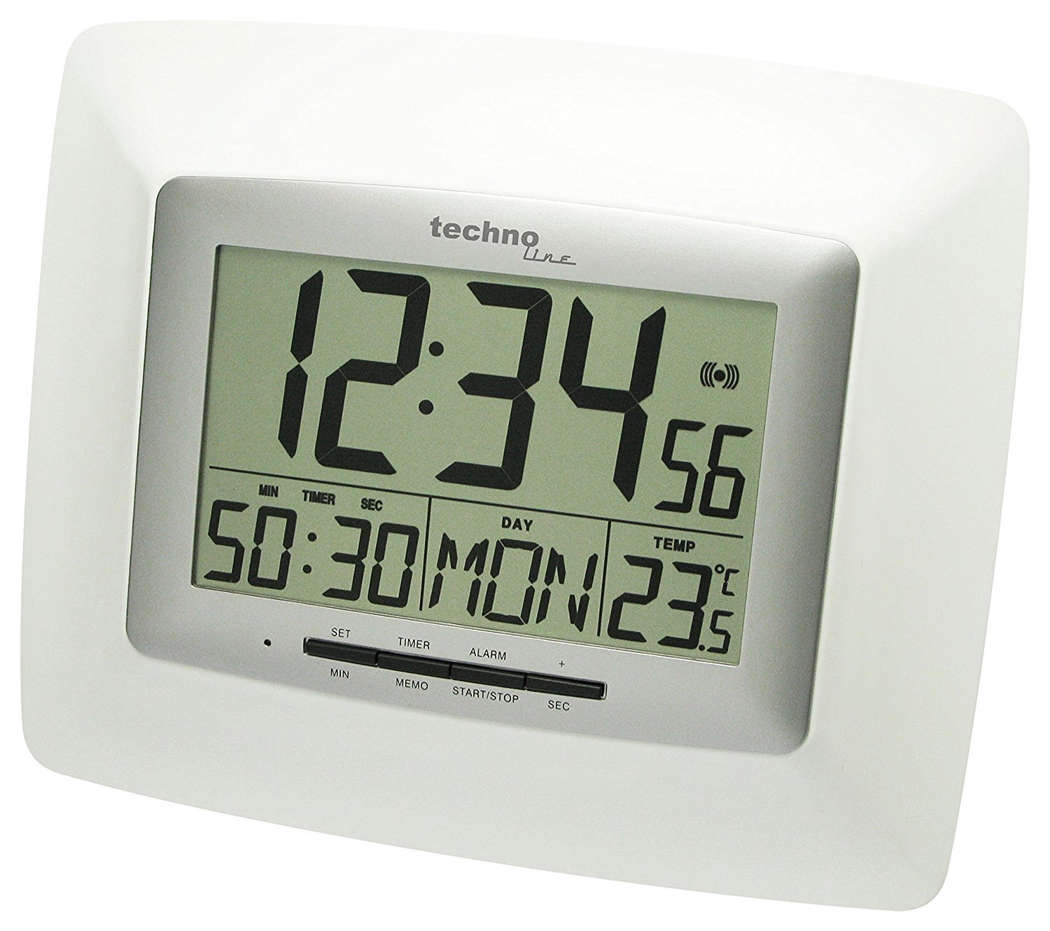Technoline WS 8100 Reloj de pared digital (plata con batería): Amazon.es: Hogar