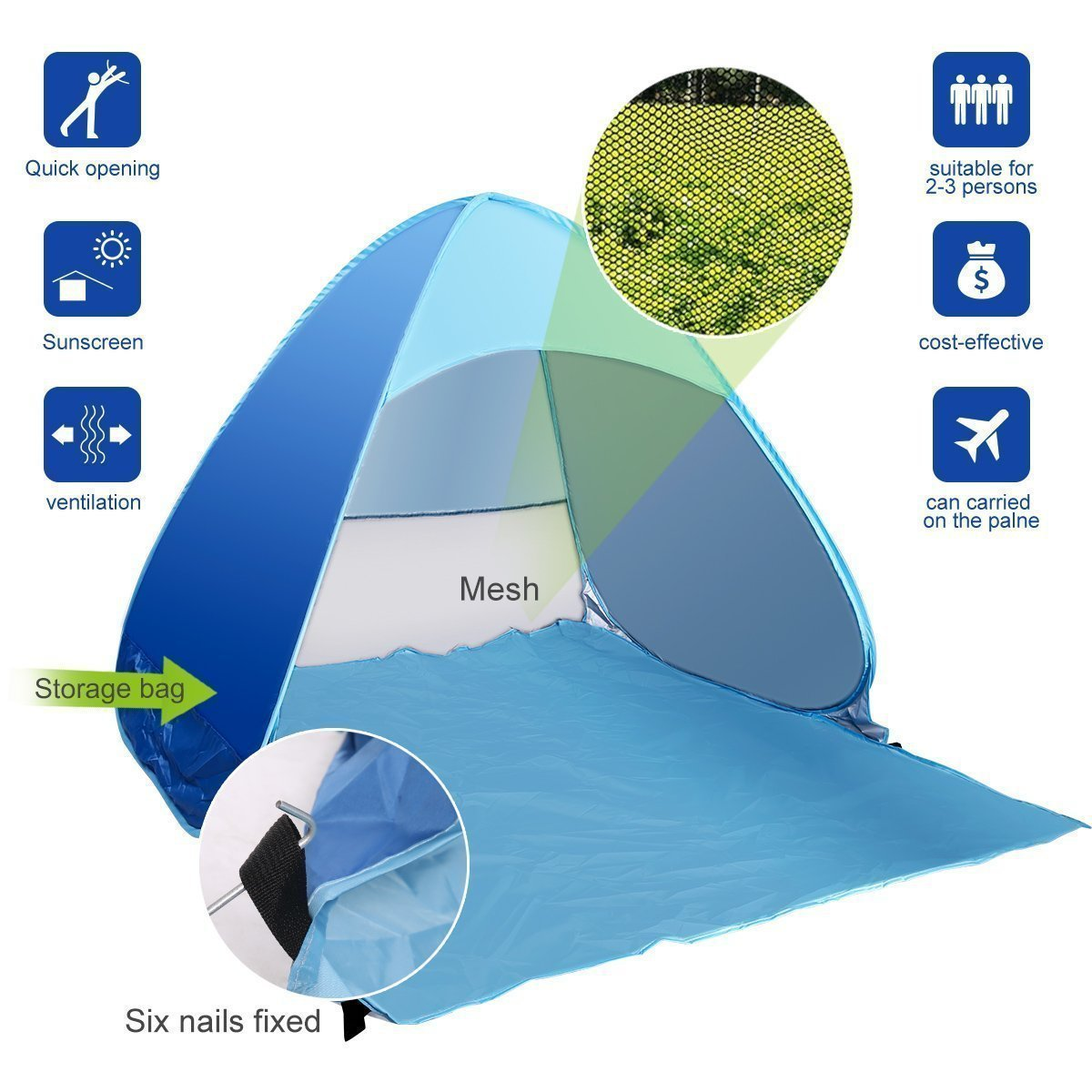 SZJH Popup Beach Shelter with UV protection 50+ UPF