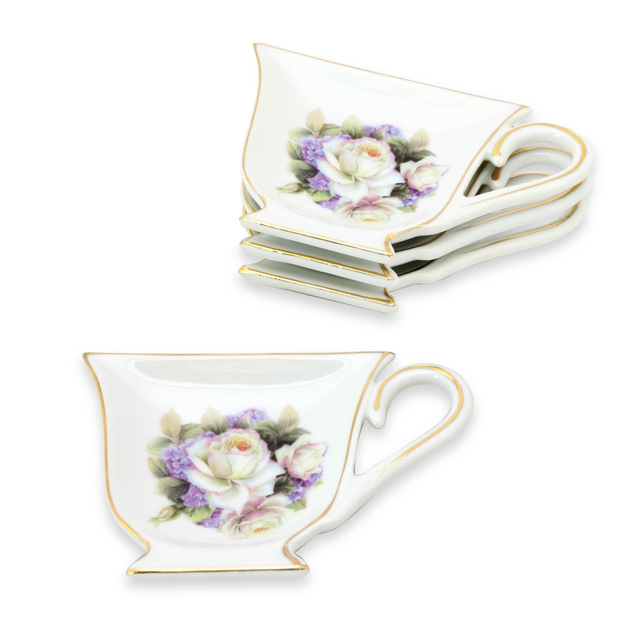 Grace Teaware Tea Bag Caddy Holder, Set of 4 (White Rose)