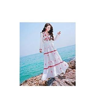 JUWOJIA Última Moda Verano Bohemian Beach Long Maxi Vestido Bordado De Alta Calidad Protector Solar Vacaciones