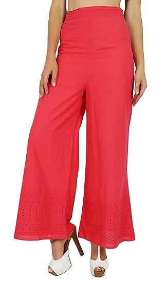 adc7f727d85abf Amazon.com: Bimba Womens Designer Rayon Palazzo Pants Back Elastic Waist  Fancy Bottoms Pajamas Peach: Clothing
