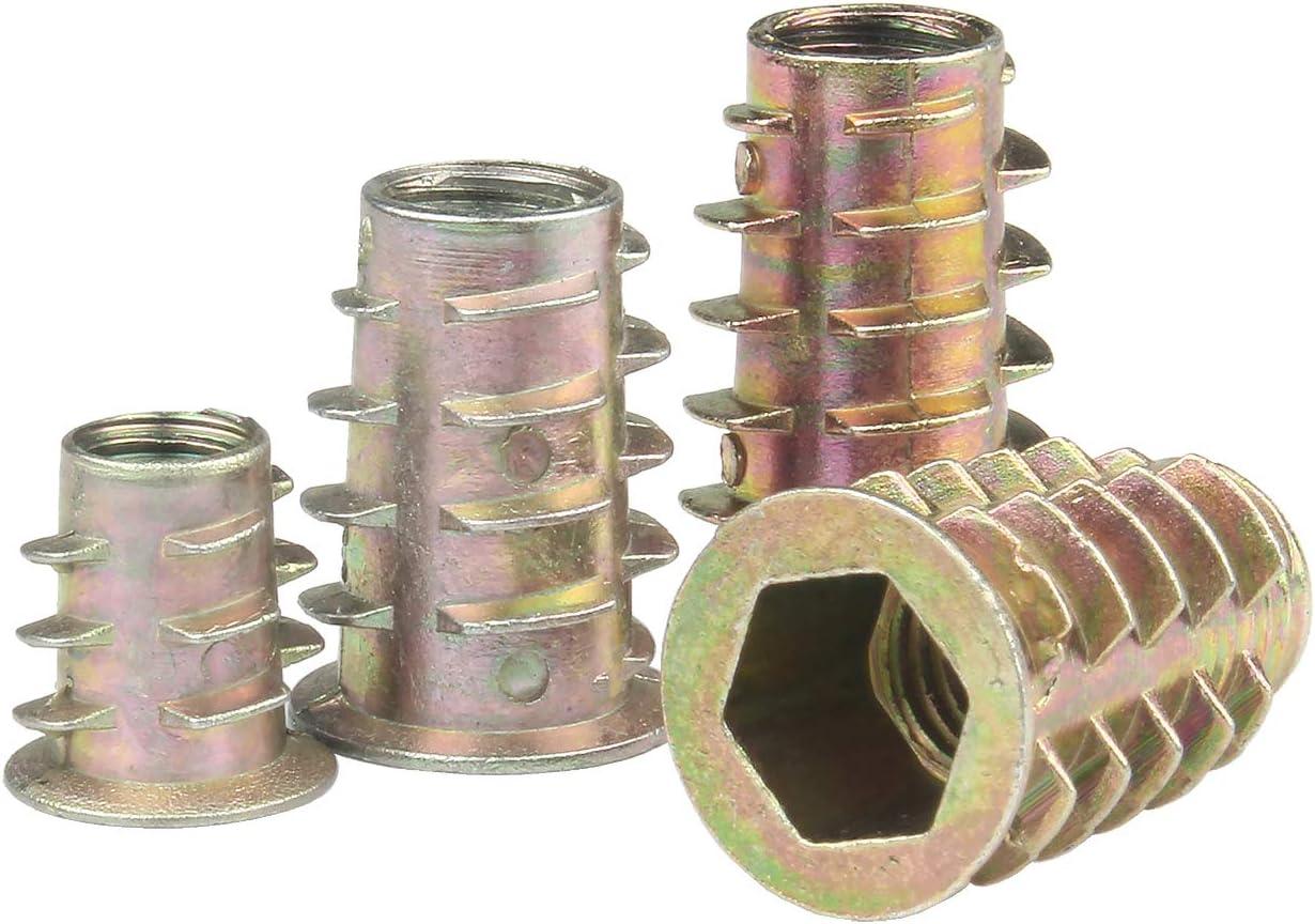 PERCTWARE M4x10mm 100PCS Zinc Alloy Furniture Hex Socket Nuts Threaded Insert Nuts Hex Drive Screw for Wood Furniture Assortment Tool Kit for Wood Furniture