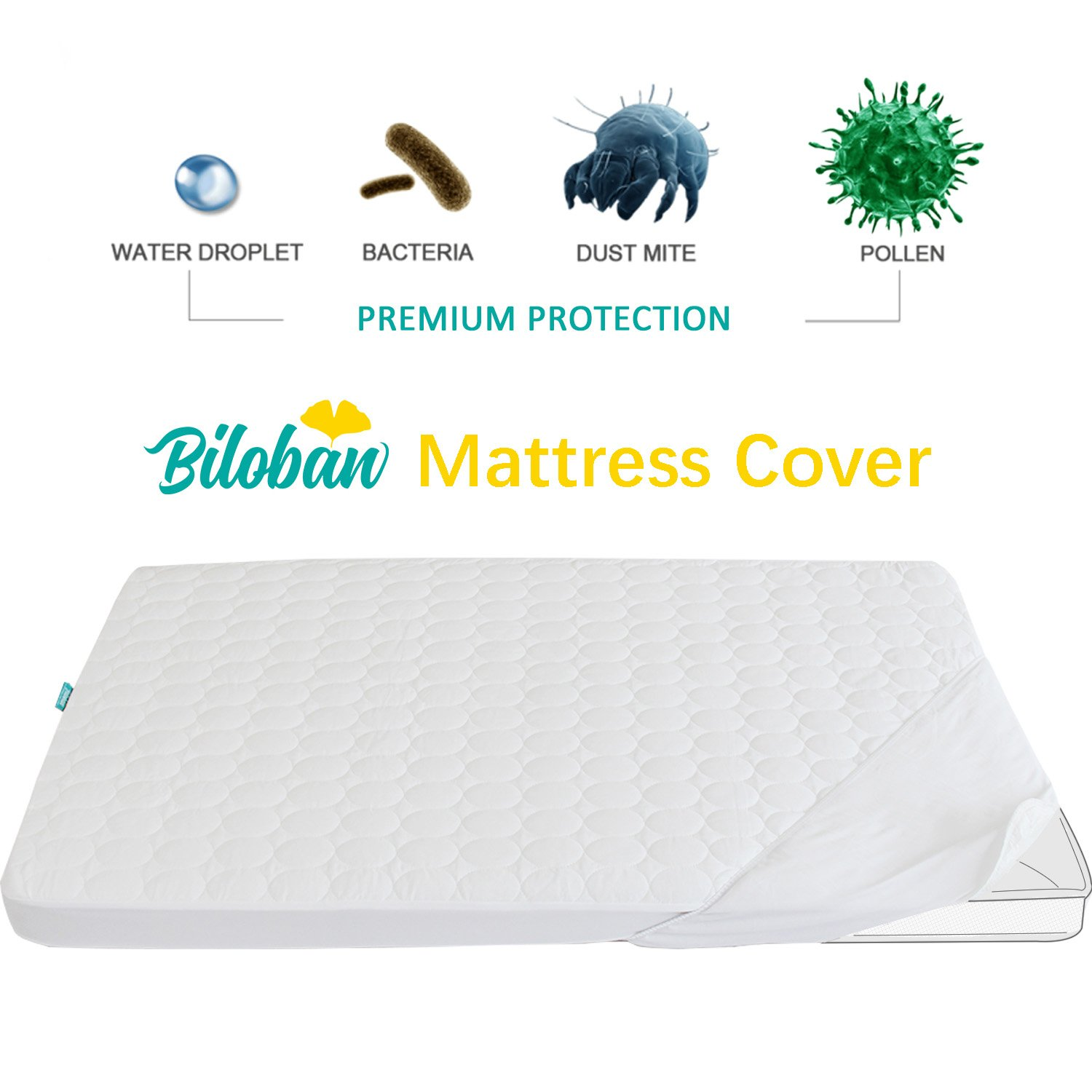 Biloban Pack N Play Mattress Pad - Comfort Cotton Surface, 100% Waterproof, 39