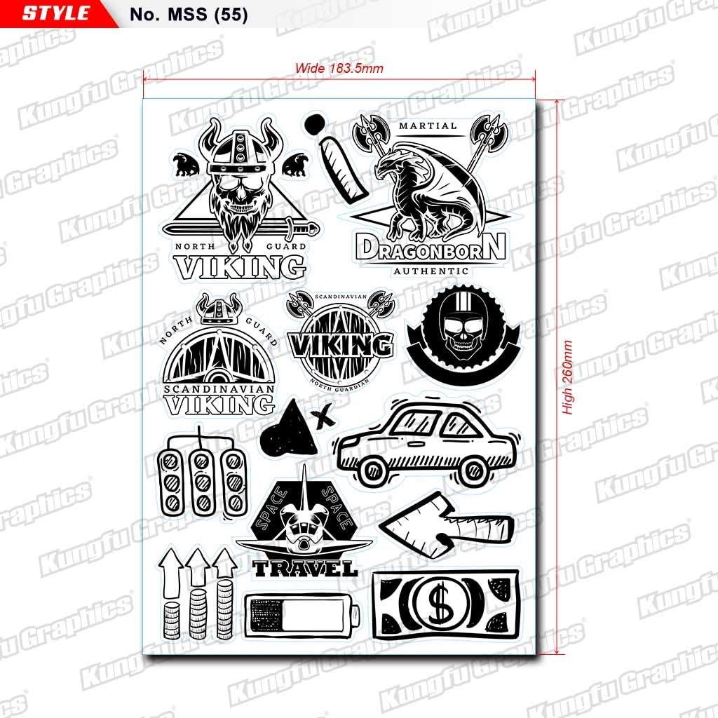 Kungfu Graphics Fox Head Micro Sponsor Logo Racing Sticker Sheet Universal White 7.2x 10.2 inch