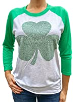 SoRock Studded Shamrock St. Patrick's Day 3/4 Sleeve Tshirt (Runs a size big)