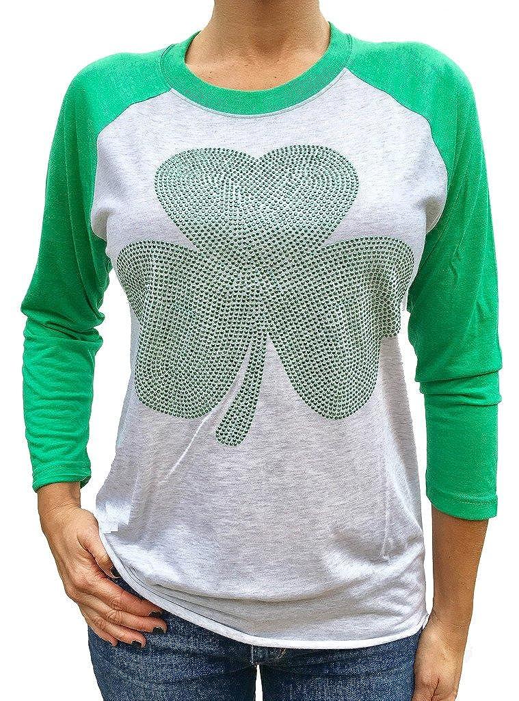 Patricks Day Tshirt Womens Studded Shamrock St