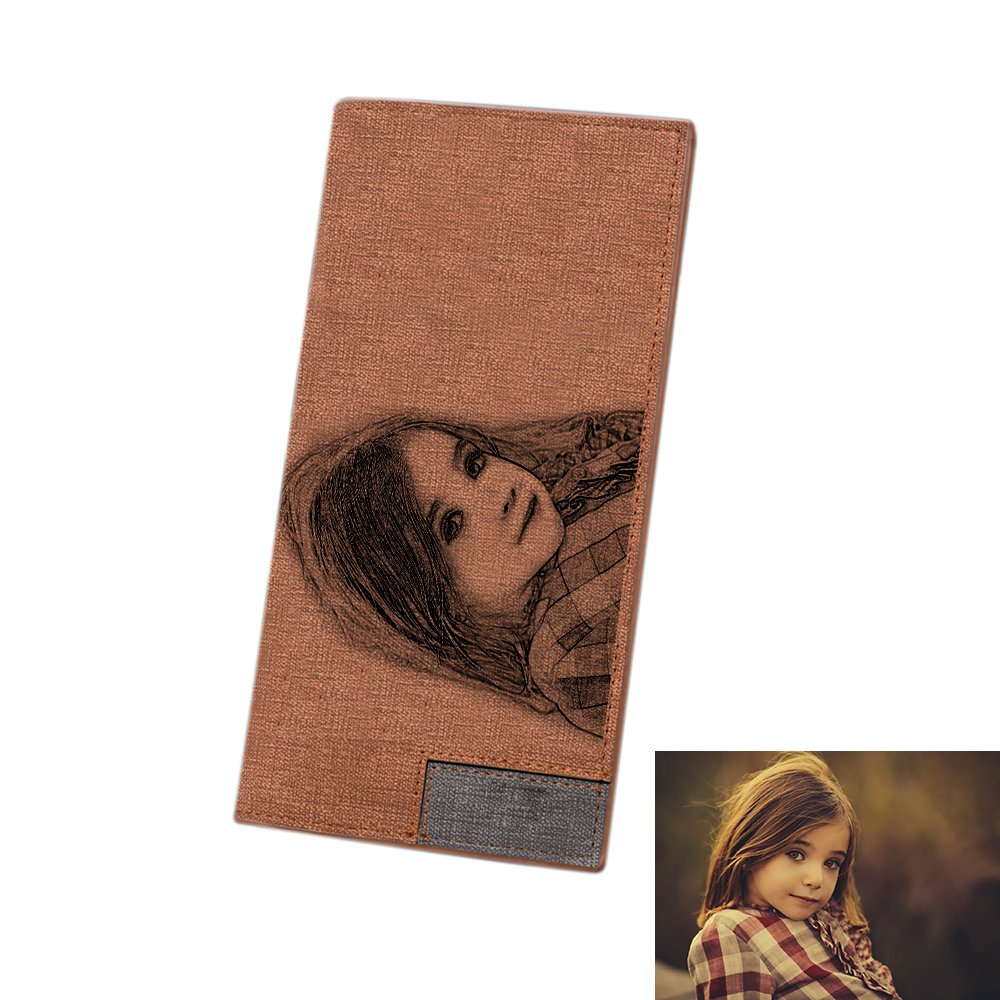 Personalized Custom Photo Wallet and Text Leather Wallet Mens Long Style