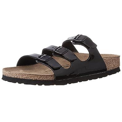 0269fb995da7 Birkenstock Women s Florida Soft Footbed Birko-Flor Black Patent Sandals -  41 ...