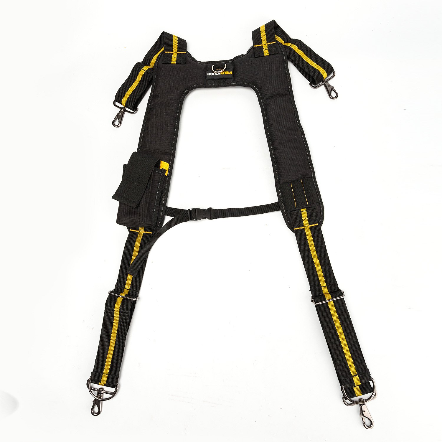 Tool Belt Suspenders|Padded Suspenders with movable phone holder Tape Holder Pencil holder,Flexible Adjustable Straps, suspenders Loop Attachments for carpenter electrician work Suspension Rig by Melo Tough (Image #3)