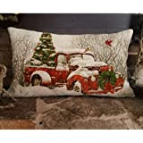 Alicia Haines Red Truck Christmas' Tree Decoration Pillow Cover 8x12 Inches