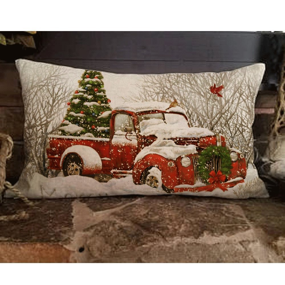 Alicia Haines Red Truck Christmas Tree Decoration Pillow 8¡°x10 inches FZN