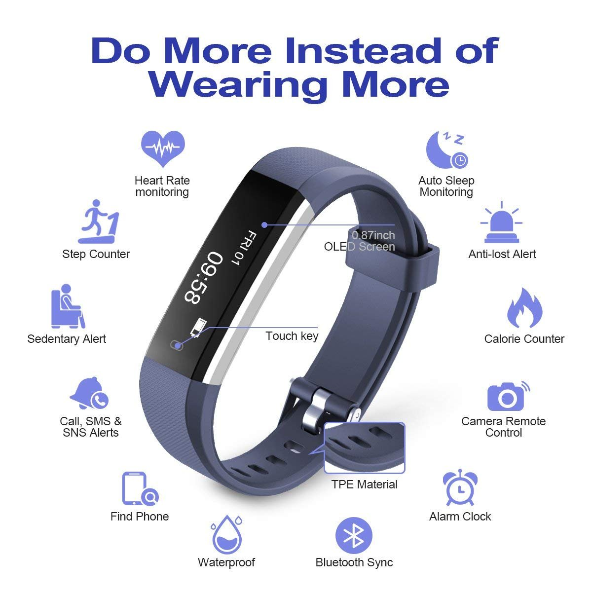 Chianruey Fitness Tracker,Activity Tracker with Heart Rate Monitor,Steps Counter IP67 Waterproof Smart Watch with Calorie Counter Watch Pedometer Sleep Monitor for Kids Women Men