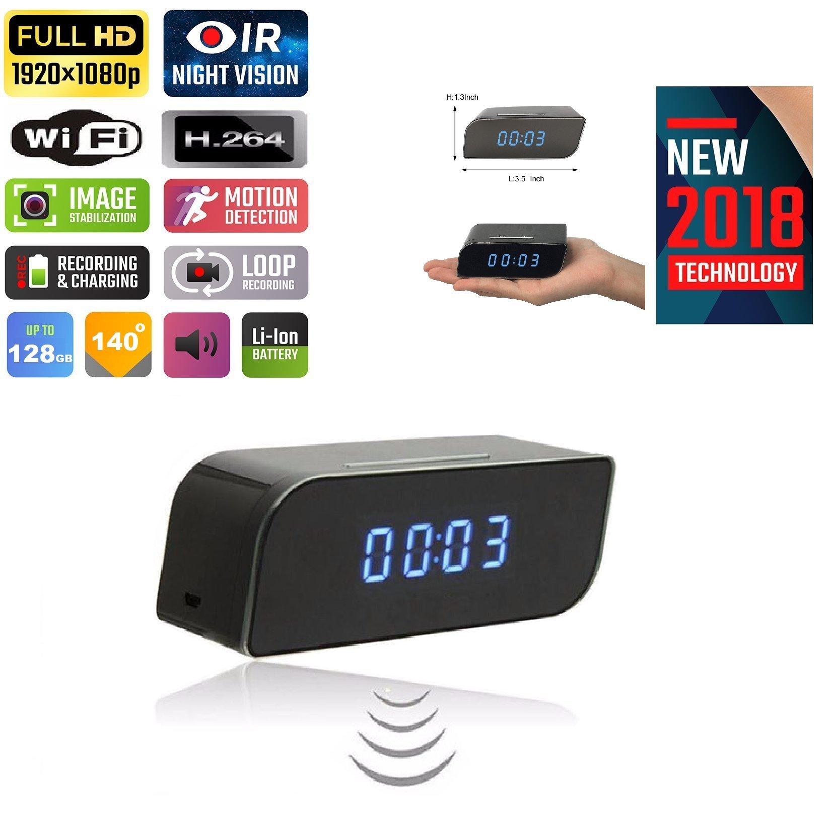 Hidden Spy WiFi Camera Alarm Clock Mini Night Vision IR Secret Home Security Nanny Cam IP Wireless cam HD 1080P Baby Monitor Audio Video Recorder IP 128GB Motion Detection 140°Wide Angle Lens TMCUS