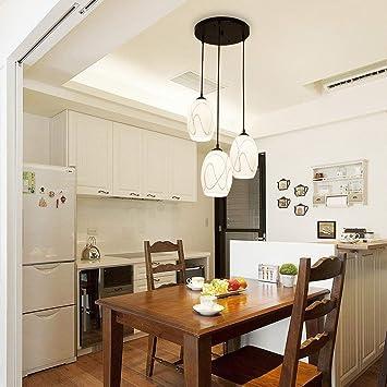 FuweiEncore Moderne Simple LED Rond Restaurant Lustre Trois Idyllique IKEA  Creative Bar Table Salle À Manger