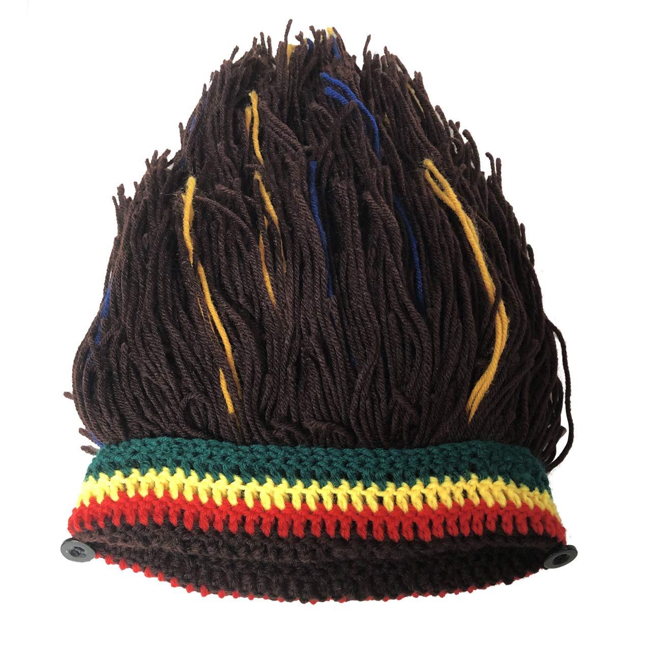 Funny Knit Beanie Beard Hat Rasta Hat with Dreadlocks Handmade Wig