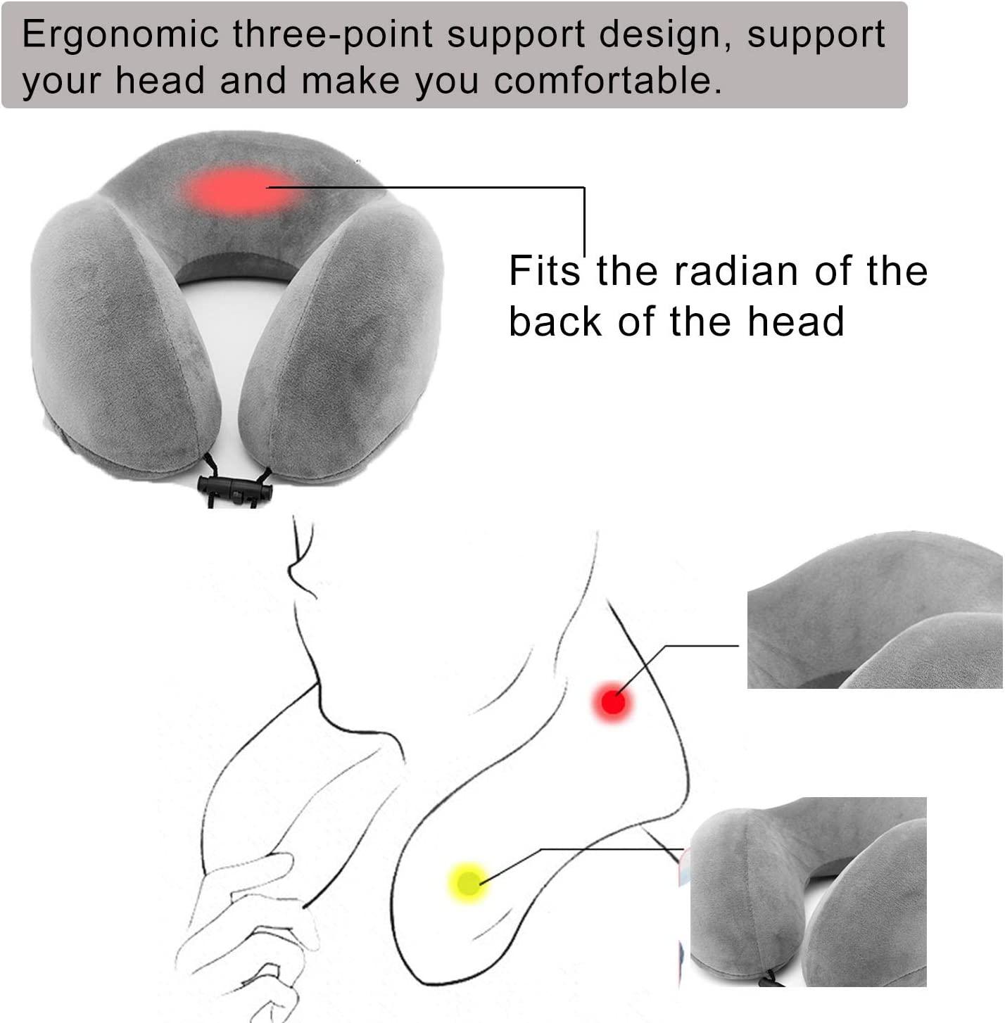 Kuma Almohada de Cuello Viscoel/ástica de Espuma de Memoria Suave para el Cuello Soporte Cervical para el Uso del Avi/ón y el Hogar Almohada de Viaje