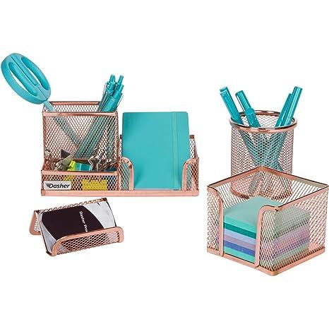 Desk Organizer Office Accessories Set Set Of 4 Rose Gold Desk Accessories Mesh Desk Set Includes Pen Case Sticky Note Holder Business Card Tray