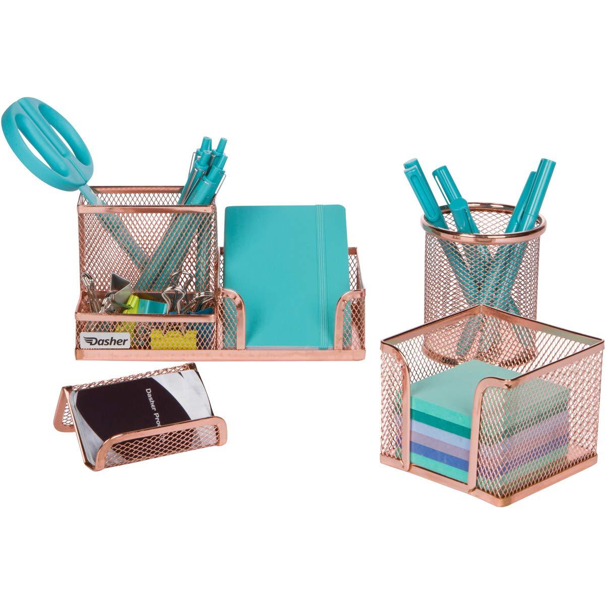 Desk Organizer Office Accessories Set - Set of 4 Rose Gold Desk Accessories, Mesh Desk Set Includes Pen Case, Sticky Note Holder, Business Card Tray, and Desk Organizer