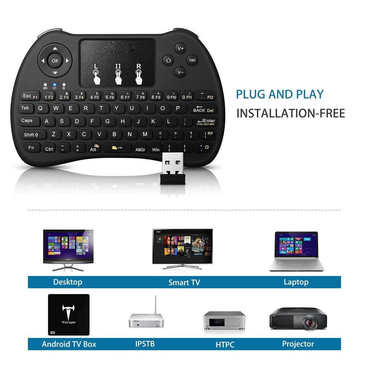 CJW 2.4GHz Multi-Media Portable Wireless Handheld Mini Keyboard with Touchpad Mouse for Xbox 360, PC, PAD, PS3, Google Android TV Box, HTPC