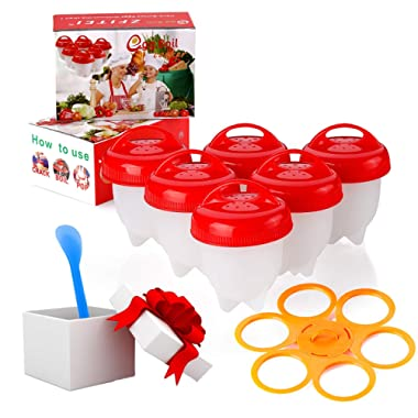 Egg Cooker holder and Egg Cooker 6pack,Boiled Eggs No shell,hard&Soft Maker,BPA Free,Non Stick Silicone,Apply to Poacher, Boilead,