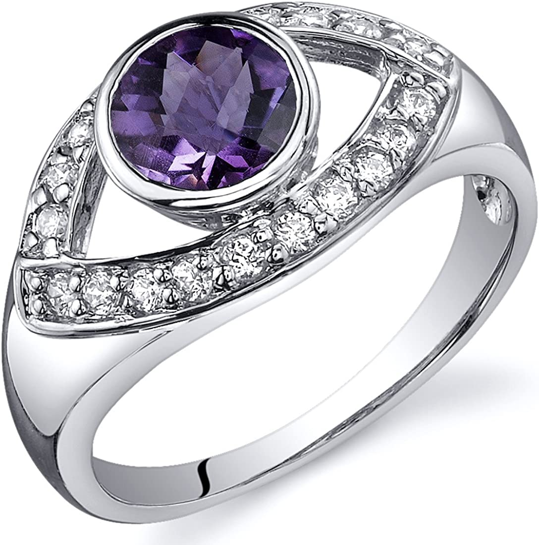 Amethyst Ring Sterling Silver Rhodium Nickel Finish 0.75 Carats Curved Design Sizes 5 to 9
